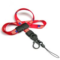 The single color USA flag lanyards with cellphone keepers and key rings.
