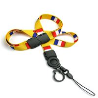 The single color France flag lanyards with cellphone keepers and key rings.