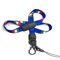 The single color Italy flag lanyard with cellphone keeper and key ring.